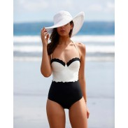 Black And White Spell Color One-piece Bikini Lace Swimsuits Bikini Set