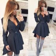 Fashion Long-Sleeved Swallowtail Dress Wave Point Star Checkered Shirt Dress
