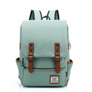 Vintage Travel Backpack Leisure Canvas With Leather Backpack&School Bag