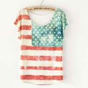 American Flag Printed Bat Sleeve T-Shirt