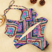Sexy Retro Printing Women Bikini Set Triangle Push-Up Bra Swimsuit