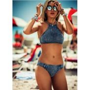 Triangle Sexy Crop Top Bikinis Set Push Up Cowboy Swimwear Beach Bathing Suit