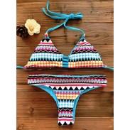 Sexy Thong Geometry Printed Set Push Up Swimwear Beach Bathing Suit