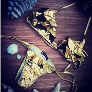 Tyrant Gold Flowers Triangle Swimsuit Bikini Set Swimwear Beach Bathingsuit