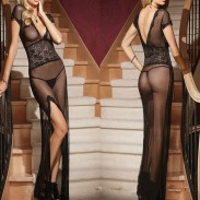 Sexy Nightdress For Women Deep-V See Though Long-style Mesh Pajamas Robe lingerie High Slit Long Dress