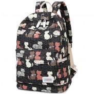 Cartoon Cat Flower Travel Rucksack Kitten Animal School Canvas Backpack