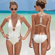One-piece Swimsuit Swimwear Bikini Set Backless Folk Bathingsuit