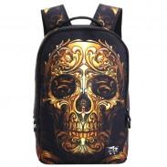Punk Skull School Rucksack Young Man Polyester Travel Backpack