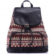Original Leisure Totem Geometry Rucksack Irregular Printing Small Canvas Backpack
