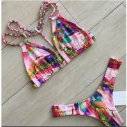 Unique City Oil Painting Gradient Color Bikini Swimsuit