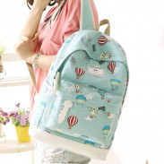 Cartoon Cute Hot Air Balloon Printing Girl's Canvas Junior High School Backpack