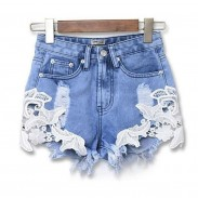 Summer Hollw Out Crochet Lace Denim Shorts Holes Jeans Women Shorts