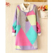 New Sweet Round Neck Color Geometry Sweater&Cardigan