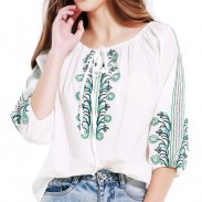 Women Retro Bandage Quarter Embroidered Casual Loos Tops