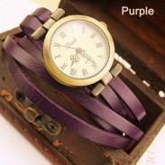 Fashion Vintage Style Multi-wraps Thin Belt Retro Watch-purple