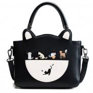 Lovely Cartoon Cat Kitten Handbag PU Shoulder Bag