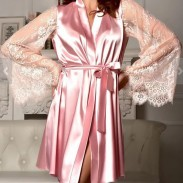 Sexy Long Sleeves Lace Silk Night Gown Perspective Mesh Sleepwear Pajamas