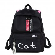 Cute Large Kitten Ear Decor Cat Letter Pure Color Student Bag Canvas School Backpack