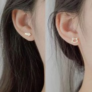 Cute Asymmetrical Silver Cat Fish Bone Rhinestone Women Earrings Studs