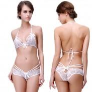 Sexy Tie Bow Bra Panty 2 Piece Set Underwear Lace Hollow Flower Women Sling Lingerie