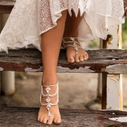 Cute Hand-made Feet Accessory Summer Diamonds Bohemian Ethnic Drop Tassel Anklets