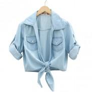 Fresh Floral Washed Denim Half Sleeve Shirt