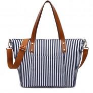 Leisure Beach Stripe Shoulder Bag Fashion Stripes Large Canvas Women Handbag