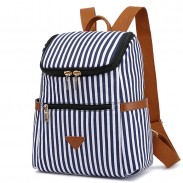 Unique Vertical Stripes Student Bag Summer Canvas Stripe School Backpacks