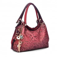Vintage Hollow Auspicious Printed Clouds Carving Handbag