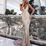 Elegant Strapless Backless V-neck Sequin Party Skirt Long Dress