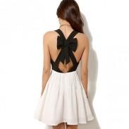 Unique Halter Bow Contrast Color Chiffon Dress