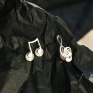 Fashion Asymmetrical G-clef Music Note Crystal Silver Earrings For Women