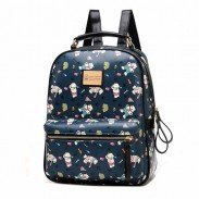 Lovely Cute Bear Printed Cartoon Leather Backpack