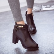 High-heeled Zipper Waterproof Leather Martin Boots