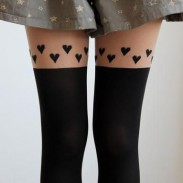 Lovely Heart Skin Color Thigh Stitching Silk Stockings