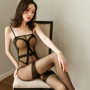 Sexy Strappy Sheer Mesh Transparent Sleeveless Crotchless Bodysuit Teddy Bodystocking Women's Lingerie
