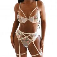 Sexy Rose Embroidery Bra Panty 2 Piece Set Hot Underwear White Flower Garter Spicy Girl's Lingerie