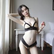 Sexy Lace Bra Panty 2 Piece Set Underwear Open Nipple Design Intimate Women's Lingerie