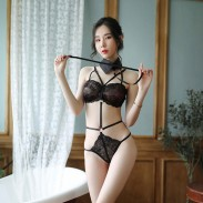 Sexy Cute Black Lace Uniform Seduction Passion Doll Conjoined Girl Lingerie