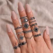 Retro Hollow Lotus Diamond Water Drop Crown Combination Ring Set 15 Piece Set Women Ring