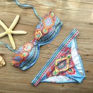 Folk Style Printed Bikini Set Swimwear Swimsuit Bathingsuit