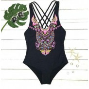 Cute Owl Print Swimwear Cross Straps Bikini One-piece Swimsuit