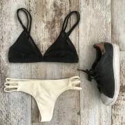 Sexy  Bikini Swimsuit Black And Cream Swimwear Bathingsuit
