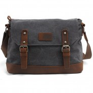 Fashion Splicing Leather Belt Handbag Retro Flap Handbag Thick Canvas Shoulder Bag