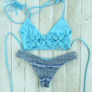 Blue Butterfly Stamp Swimsuit Beach Bikini Set Series Split Swimwear Bathingsuit