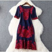 Flounced Hollow Out Embroidery Fishtail Dress Slim Temperament Party Dress