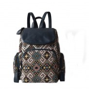 New Geometry Fluid Systems Stitching Leather Travel Backpack Schoolbag