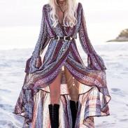 Women's Three-quarter Length Sleeves Printing Loose National Style Skirt