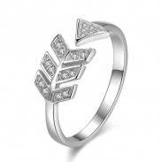 Sweet Love Arrow Silver Ring Diamond Feather Silver Open Ring
