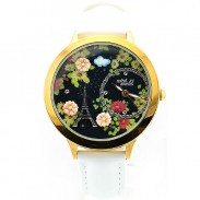 Elegant Black Floral Eiffel Tower Watch